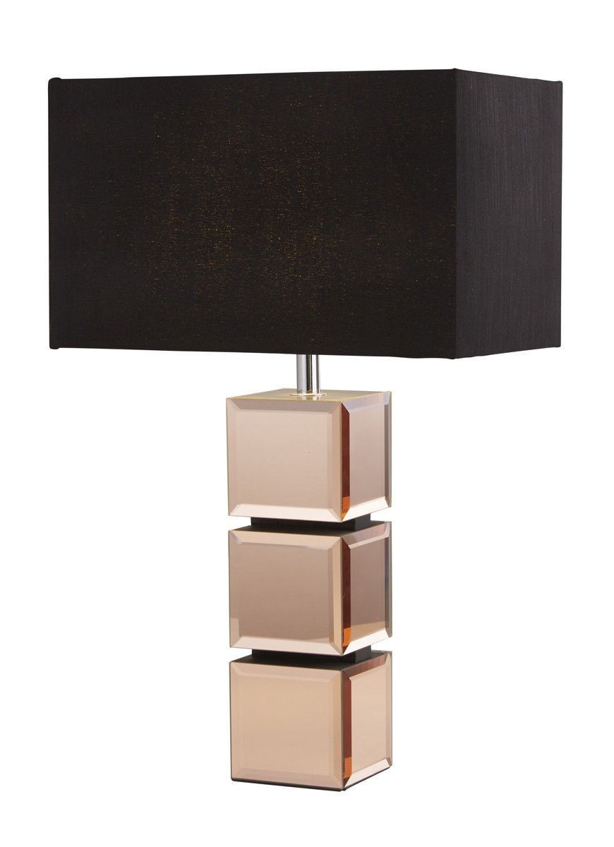 Branded Housewares Searchlight 92804 A Rose Gold Mirror Cube Table Lamp