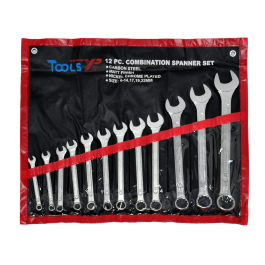 Tools XP 12 Piece Metric Combination Ring Spanner Wrench Set Tool Roll 6-22mm