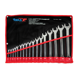 Tools XP 17 Piece Metric Combination Ring Spanner Wrench Set Tool Roll 6-32mm