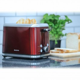 Brabantia Deluxe Wide Slot 2 Slice Toaster Bagel Stainless Steel In Red