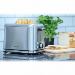 Brabantia Deluxe Wide Slot 2 Slice Toaster Bagel Stainless Steel In Silver