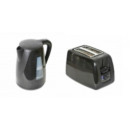 Brabantia Modern Cordless Kettle & 2 Slice Wide Slot Toaster Set In Black
