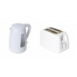 Brabantia Modern Cordless Kettle & 2 Slice Wide Slot Toaster Set In White