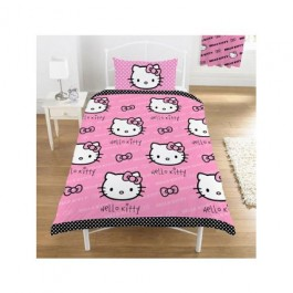 Official Hello Kitty Bows Single Duvet Cover - Wholesale Clearance Stock