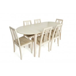 Jude Whitewash Table & 6 Upholstered Chair Dining Set - New Stock