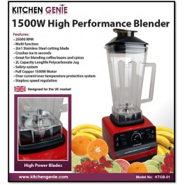 Kitchen Genie 1500W High Performance Blender - New Stock