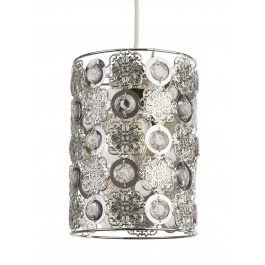Lighting Collection 700375 Chrome Pendant Ceiling Light Acrylic Beads