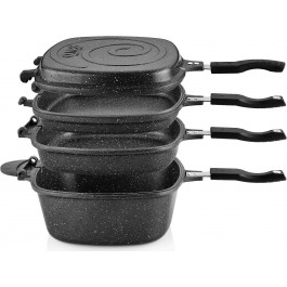 O.M.S. 7 Pc Granite Multi Cooker Cookware Pan Set Grill Deep Fry S/Steel Black