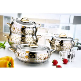 O.M.S. 8 Piece Commercial Professional Cookware Stock Pot Set 18/10 S/Steel 1022