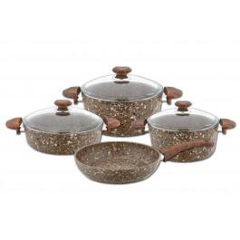 O.M.S. Cookstone 7 Piece Stone Cookware Set Casserole Pan Frying Pan Brown 3028