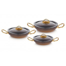 O.M.S. Granite 6 Piece Copper Egg Frying Pan Pot Set With Glass Lids Non-Stick