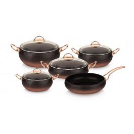 O.M.S. Granite Copper 9 Piece Cookware Set With Glass Lids Casserole Pan Pot