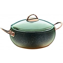 O.M.S. Granite Copper Casserole Pan Pot With Glass Lid Non-Stick 24 26 cm