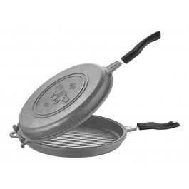 O.M.S. Granite Professional Double Sided Grill Pan Griddle Pan In Grey