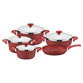 O.M.S. Granite Professional Cookware Set Casserole Pot Frying Pan S/Steel Red