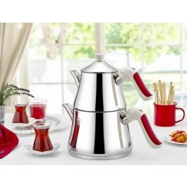 O.M.S. Twin Coffee Teapot Tea Pot Set Stove Top Kettle 18/10 S/Steel 1.4 & 2.8 Litre