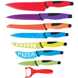 renberg rb-2504 8 piece coloured stainless steel kitchen knife set