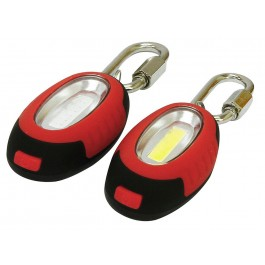 rolson 61604 0.5w cob lights red and white with carabiner clips
