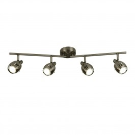 Searchlight 2724AS 4 Light Ceiling Spotlight Strip Split Bar Antique Silver
