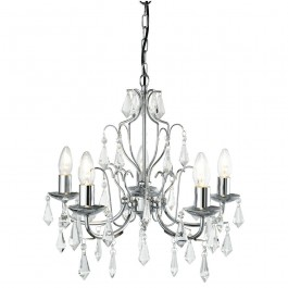Searchlight 6945-5CC Martina Chandelier Ceiling Light Crystal Droplets