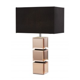 Searchlight 92804-A Rose Gold Mirror Cube Table Lamp