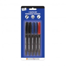 Tallon 1157/48 Rapid Dry Permanent Markers 5 Pack - New Wholesale Stationary Stock