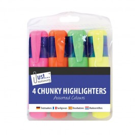 Tallon 4074 Chunky Highlighters 4 Pack - New Wholesale Stationary Stock