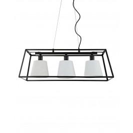 Modern Tribeca Framed 3 Light Ceiling Pendant Light Black