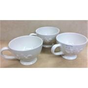 Large Ceramic Drinking Mugs - White - Chicken Design
