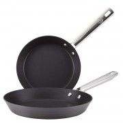Anolon Professional Hard Anodised Fry Pan Twin Pack, Black, 20 - 28 cm, Set of 2