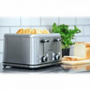 Brabantia Deluxe Wide Slot 4 Slice Toaster Bagel Brushed Stainless Steel Silver