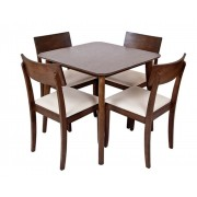 Crosby Walnut Stained Table & 4 Wooden Chair Dining Set - New Stock