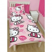 Official Hello Kitty Kiss Single Duvet Cover - Wholesale Clearance Stock
