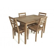 Leni Driftwood Table & 4 Wooden Chair Dining Set - New Stock