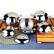 O.M.S 10 Piece Professional Cookware Set Casserole Pan Pot 18/10 S/Steel 1007