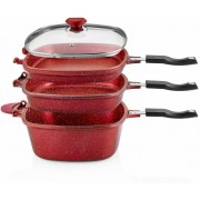 O.M.S. 7 Pc Granite Multi Cooker Cookware Pan Set Grill Deep Fry S/Steel Red