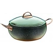 O.M.S. Granite Copper Casserole Pan Pot With Glass Lid Non-Stick 24 26 cm