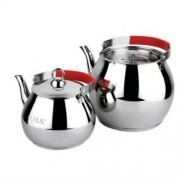O.M.S. Twin Coffee Teapot Tea Pot Set Stove Top Kettle 18/10 S/Steel 2.25 & 5 Litre