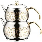 O.M.S. Twin Coffee Teapot Tea Pot Set Stove Top Kettle 18/10 S/Steel 1.7 & 3 Litre