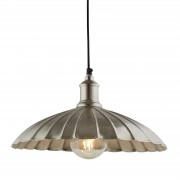 Searchlight 2715SN Industrial Scalloped Pendant Light Ceiling Satin Nickel