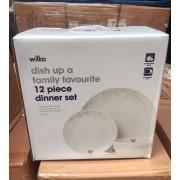 12 Piece Porcelain Dinner Set - New Wholesale Stock