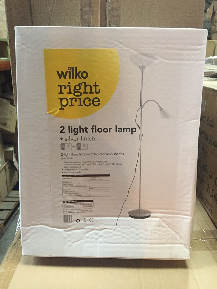 Branded housewares new wilko branded 2 light silver floor lamp new wilko 2 light floor lamp aloadofball Image collections