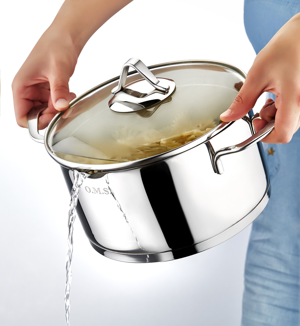 OMS Cookware Large Pan Sets with Glass Lids